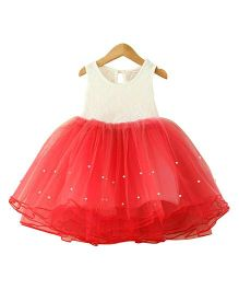 Tiny Closet Princess Party Dress Accentuated With Pearls - Red