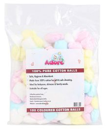 Adore 100 Percent Pure Cotton Balls Coloured - Pack of 100
