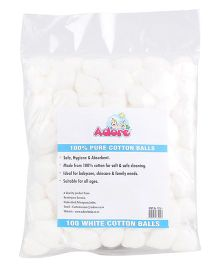 Adore 100 Percent Pure Cotton Balls White - Pack of 100