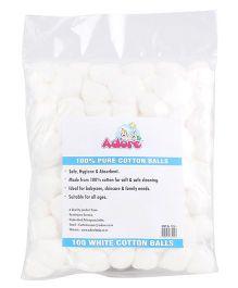 Adore 100 Percent Pure Cotton Balls White - Pack of 100