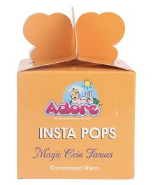 Adore Insta Pops Magic Coin Tissues Compressed Wipes - Pack Of 10
