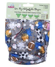 Adore Uni Size Adjustable Cloth Diaper With Insert Football Print - Multicolor
