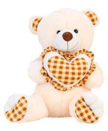 Playtoons Teddy Soft Toy With Heart Cream & Brown - Height 26 Inches