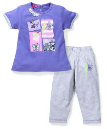Mickey Half Sleeves Top And Pajama Stone Work - Purple Grey