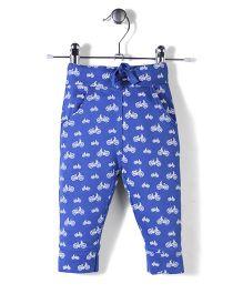 Jute Baby Cycle Print Track Pants - Royal Blue