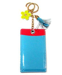 EZ Life Card Holder Keychain With Flower - Blue