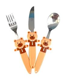 EZ Life Bouncy Bear Funky 3 Piece Kids Cutlery Set - Brown