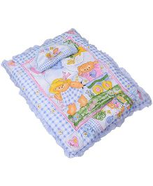 Montaly Teddy Printed Baby Bed Set With Pillow And Bolster - Blue
