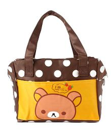 EZ Life Bear Print & Polka Dots Carry Bag - Brown