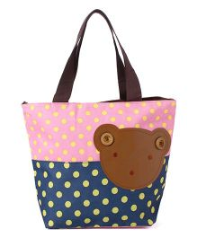 EZ Life Bear Print & Polka Dots Carry Bag - Pink & Blue