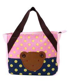 EZ Life Bear Print & Polka Dots Carry Bag - Light Pink & Blue