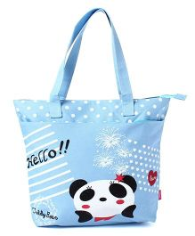 EZ Life Panda Print Carry Bag - blue and white
