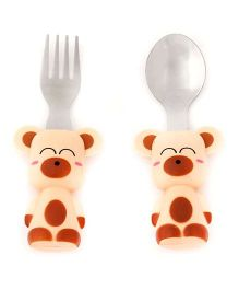 EZ Life Teddy bear Print Cutlery Set- Red & Pink