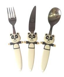 EZ Life Funky Panda Cutlery Set - Off White & Black