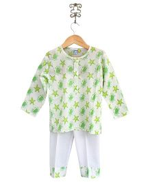 Frangipani Kids Beach Crab Nightwear Set - Green & White
