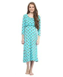 Mamacouture Printed Maternity Night Wear Green - Medium