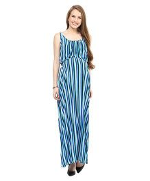 Mamacouture Striped Maxi Maternity Dress Blue - Small