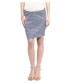 Mamacouture Trendy Hounds Tooth Maternity Skirt - Blue And White
