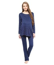 Mamacouture Super Comfortable Maternity Night Suit Hearts Print - Navy Blue