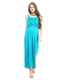 Mamacouture Sleeveless Maxi Maternity Dress - Turquoise Blue