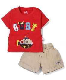 Child World Half Sleeves T-Shirts and Shorts Big Surf Patch - Red & Khaki