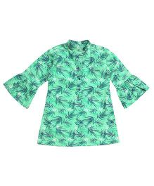 Campana Bell Sleeves Frock Palm Print - Green
