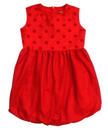 Campana Sleeveless Party Frock - Red