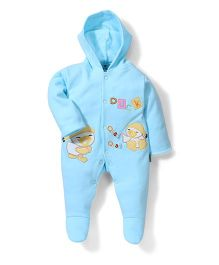 Child World Full Sleeves Footed Hooded Romper Duck Quack Embroidery - Blue