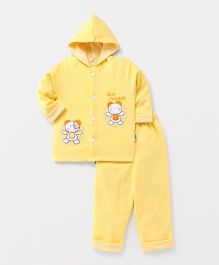 Child World Full Sleeves Winter Wear T-shirt & Bottom Embroidery - Light Yellow