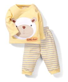 Child World Full Sleeves T-Shirt and Leggings Little Bear Embroidery - Yellow