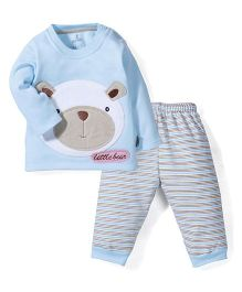 Child World Full Sleeves T-Shirt and Leggings Little Bear Embroidery - Blue