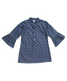 Campana Bell Sleeves Denim Frock Floral Print - Blue