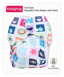 Babyhug Free Size Reusable Cloth Diaper With Insert Multiprint Print - White