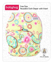 Babyhug Free Size Reusable Cloth Diaper With Insert Circle Print - Green