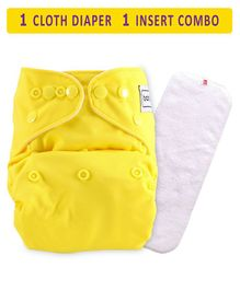 Babyhug Free Size Reusable Cloth Diaper With Insert - Yellow
