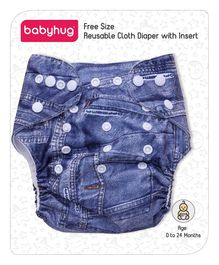 Babyhug Free Size Reusable Cloth Diaper With Insert Denim Pattern - Blue