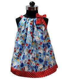 Many Frocks & Kitty Print Dress - Blue