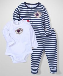 ToffyHouse Full Sleeves Onesies Striped Top And Footed Leggings Set - Navy Blue White