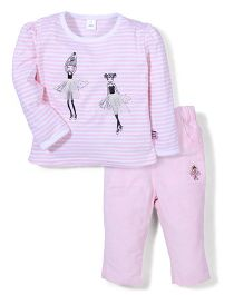ToffyHouse Full Sleeves Top & Pant Ballerina Print - Pink