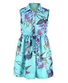 Pspeaches Shirt Style Dress - Blue