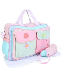 Mother Bag With Changing Mat And Bottle Holder Butterfly Embroidery - Pink & Blue