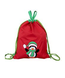 Little Pipal Christmas Penguin Drawstring Cum Gift Bag Red - 18 Inches