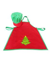 Little Pipal Christmas Tree Chef Apron and Hat Toddler - Red Green