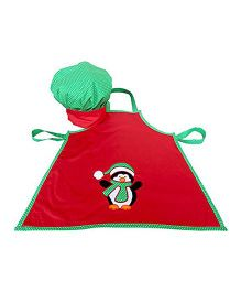 Little Pipal Christmas Penguin Chef Apron and Hat Toddler - Red Green