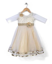 Bluebell Sleeveless Party Frock With Inner Tee - Off White