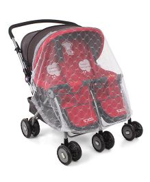 Twin Stroller With Mosquito Net - Red & Black