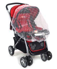Baby Stroller With Mosquito Net - Red & Black