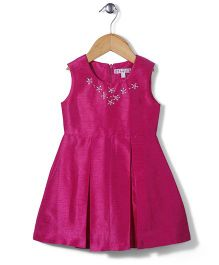 Angelito Sleeveless Pleated Party Frock - Deep Pink