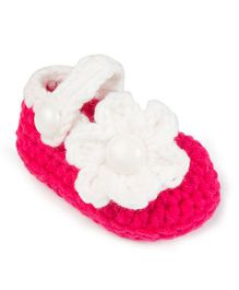 Jute Baby Handmade Crochet Booties Floral Applique - Pink White
