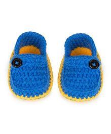 Jute Baby Handmade Crochet Booties - Royal Blue Yellow
